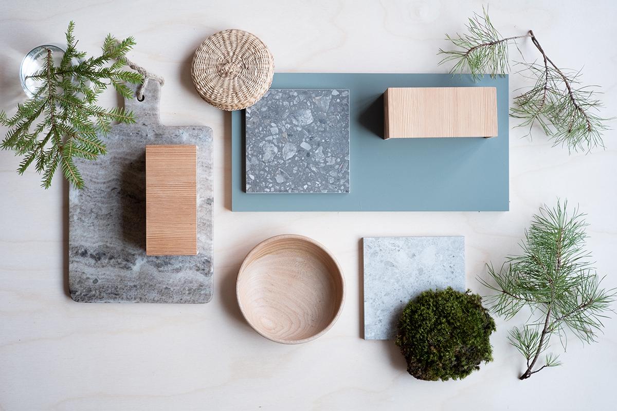 material collage Enkelrum natur