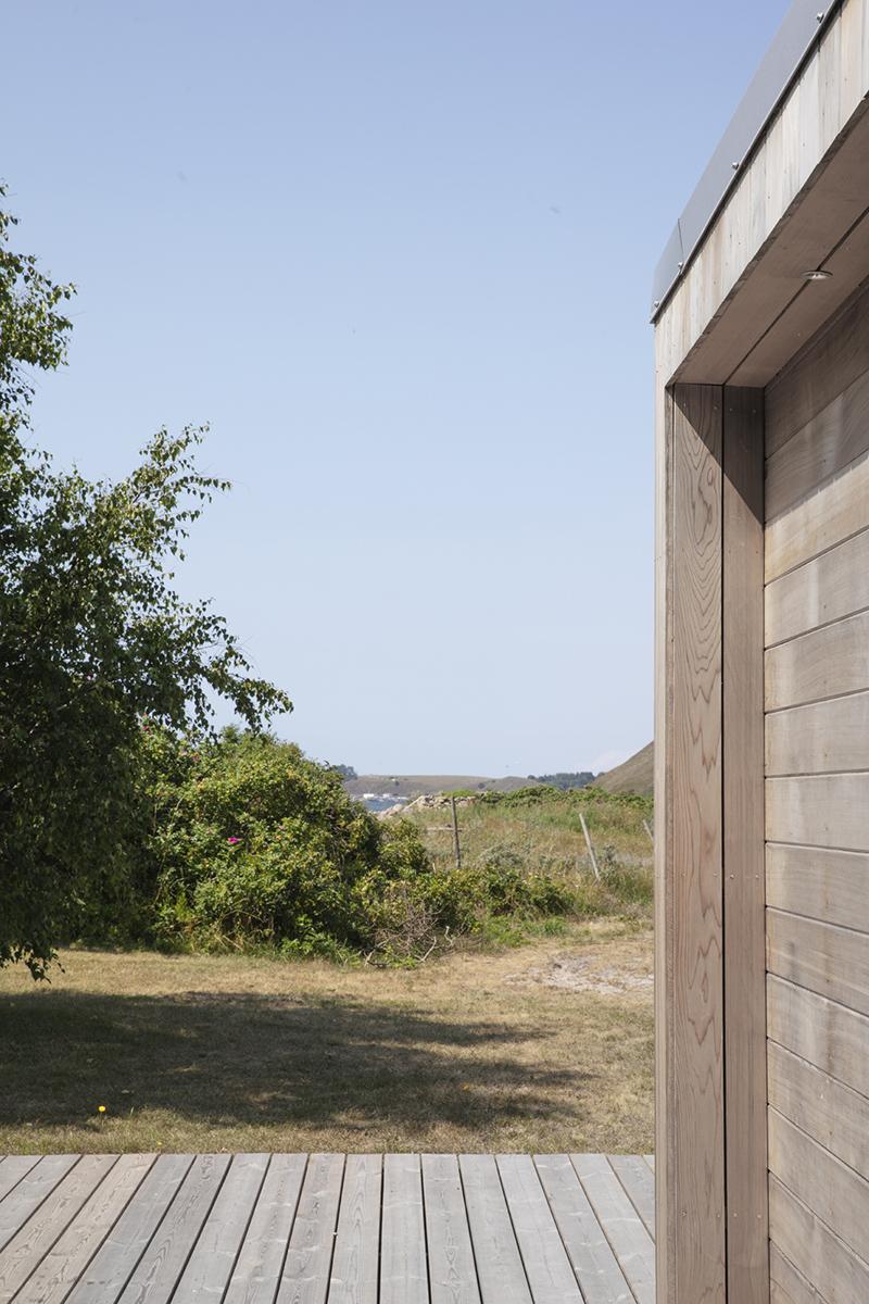 detalj cedertra bastuhus